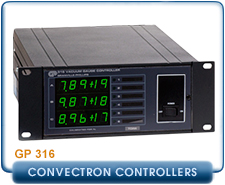 Granville Phillips 316 Convectron Gauge Controller, Set Up To Read 1 or 3 Convectron Gauge, Process Control, RS-232
