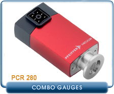 Pfeiffer PCR 280 Compact Pirani Capacitance Combo Gauge , 10-4 Torr, KF16 NW16, PN PTR26850