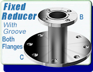 ASA Straight Tube Flange Reducer, ASA 1.5 in. to ASA 1 in., Fixed, O-Ring Groove Both Sides