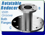 ASA Straight Tube Flange Reducer, ASA 1.5 in. to ASA 1 in., Rotatable, O-Ring Groove Both Sides