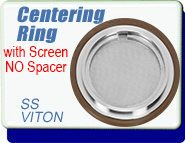 Centering Ring with Spacer Screen, LF-63, LF-80, LF-100 & LF-160 NW ISO-63, ISO-80, ISO-100 & ISO-160 Vacuum Fittings, Stainless Steel with Viton� O-Ring