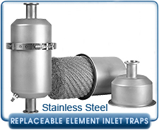 Replaceable Element Inline Traps Stainless Steel KF16 KF25 KF40 KF50