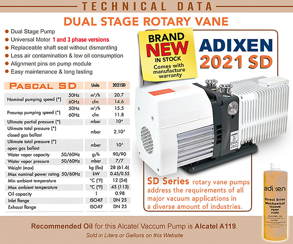 Ideal Vacuum NEW Alcatel Adixen 2021SD 2021 SD PascalDual