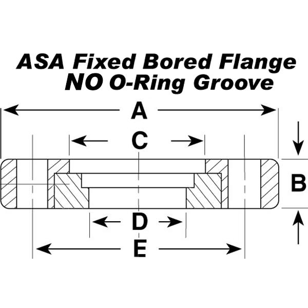 ASA Flange, 6 Inch, Fixed Bored Flat Weld On Vacuum Flange, No O ...