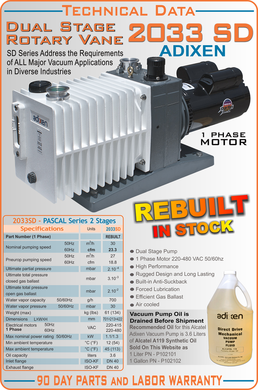 rebuilt alcatel adixen 2033sd 2033 sd pascal dual stage rotary vane rh idealvac com Manual Alcatel- Lucent Alcatel A382G TracFone Manufacturer's Manual