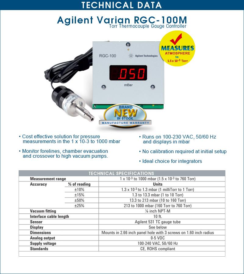 Brand New Agilent Varian RGC100M, RGC-100M Millibar
