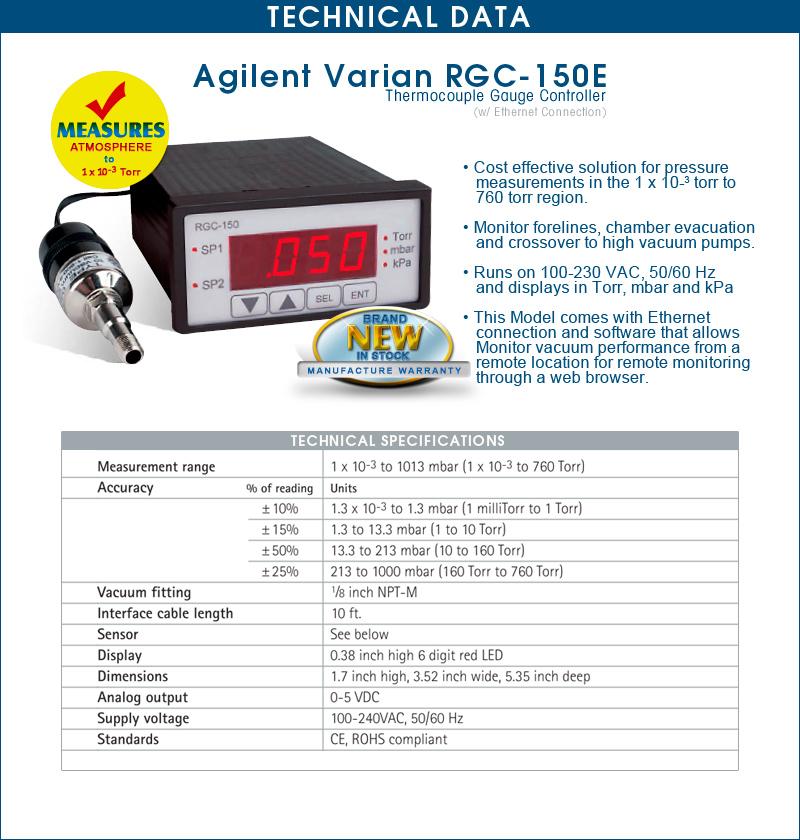 Brand New Agilent Varian RGC150E, RGC-150E Rough Ethernet