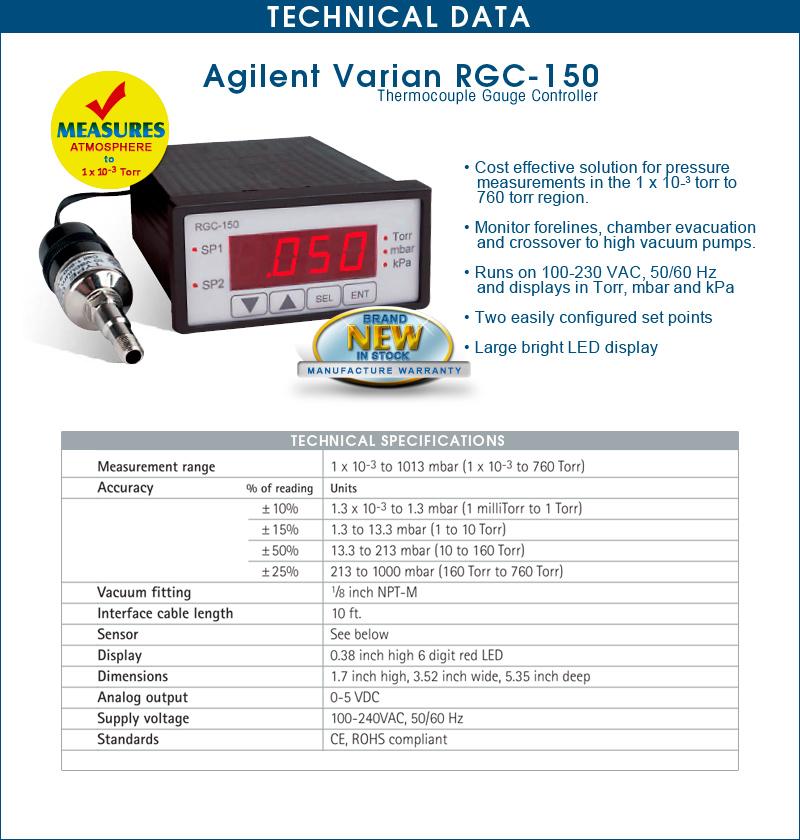 Ideal Vacuum | Brand New Agilent Varian RGC150, RGC-150