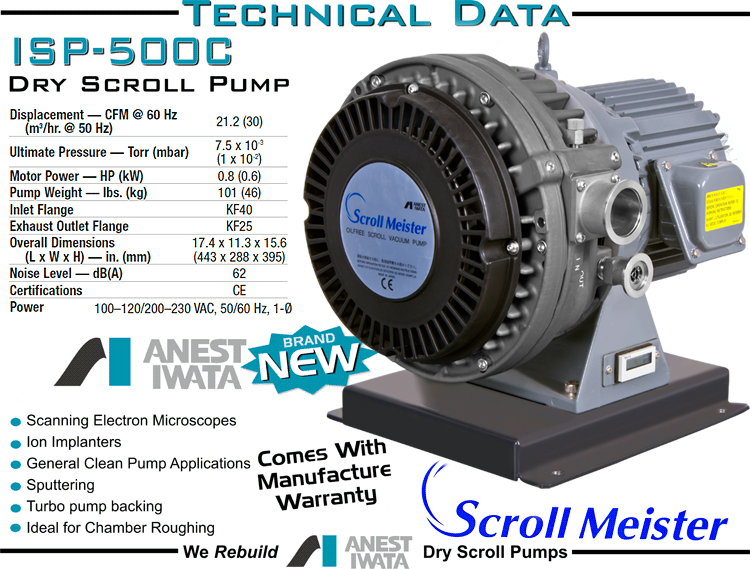 Ideal Vacuum New Anest Iwata Isp 500c Oil Free Dry