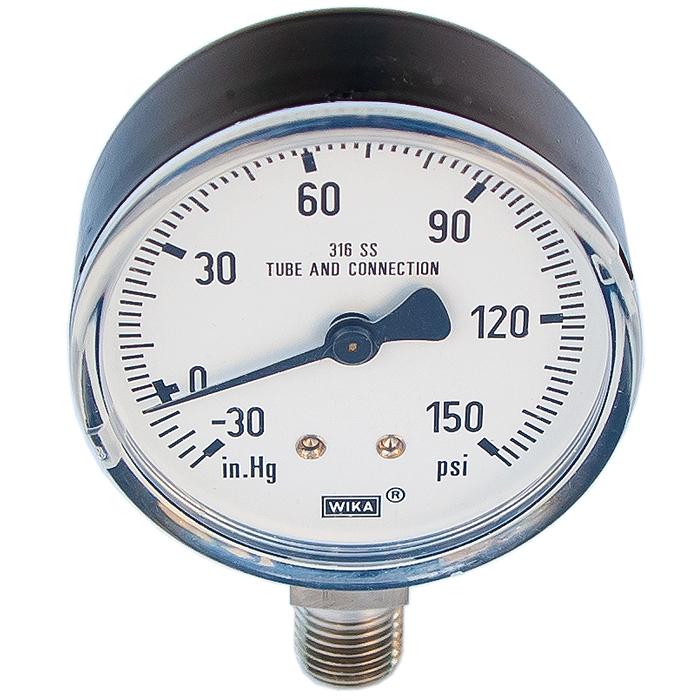 Ideal Vacuum | Bourdon Needle Dial Vacuum Pressure Gauge