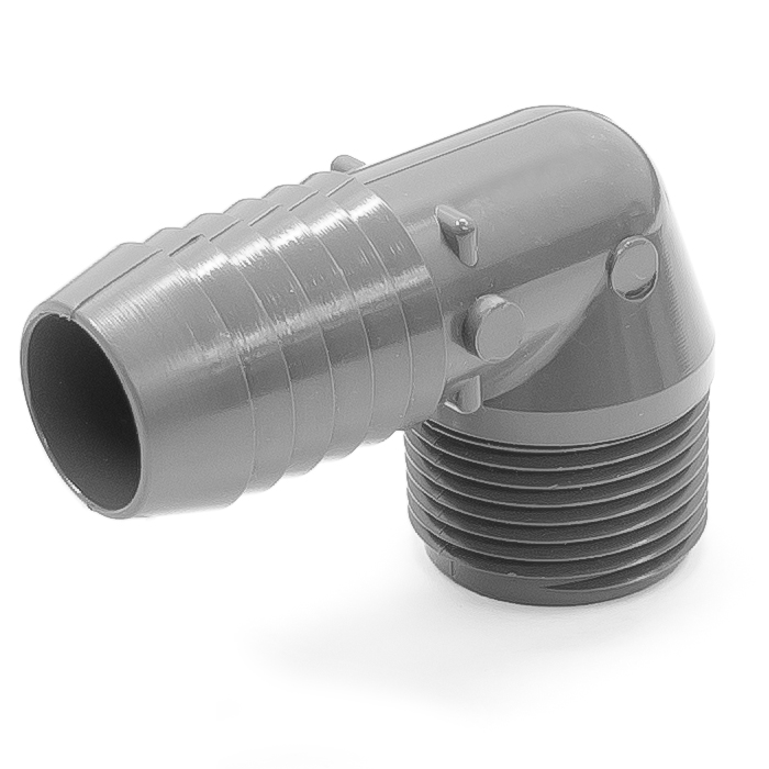 Adapter plastic elbow degree in id hose barb to