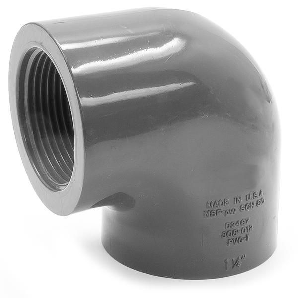 Fnpt to elbow pvc plastic degree in