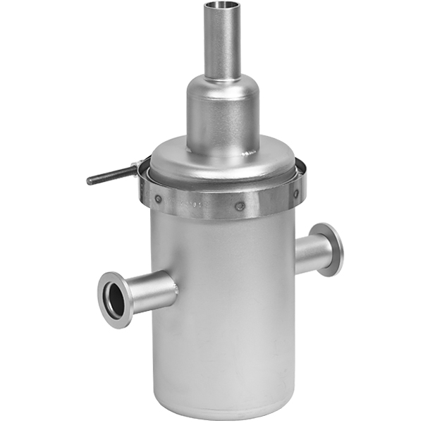 In line liquid nitrogen trap inlet and outlet nw kf
