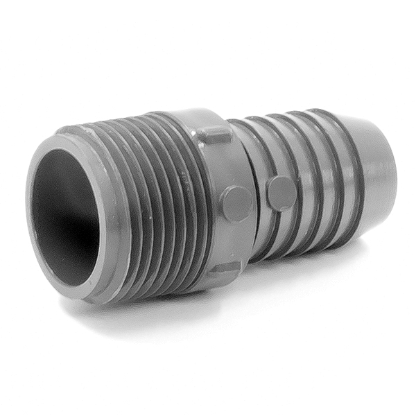 Adapter plastic in id rubber hose barb to mnpt