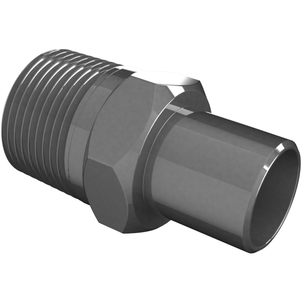 Vacuum fitting adapter inch id male npt to pvc
