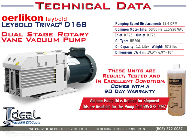 Ideal Vacuum | Leybold D16 D16B Trivac Rotary Vane Dual Stage ... on
