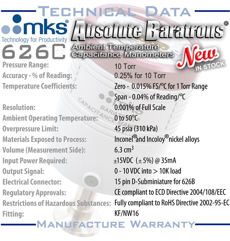 NEW MKS 626C 10 Torr Baratron Absolute Capacitance Manometer