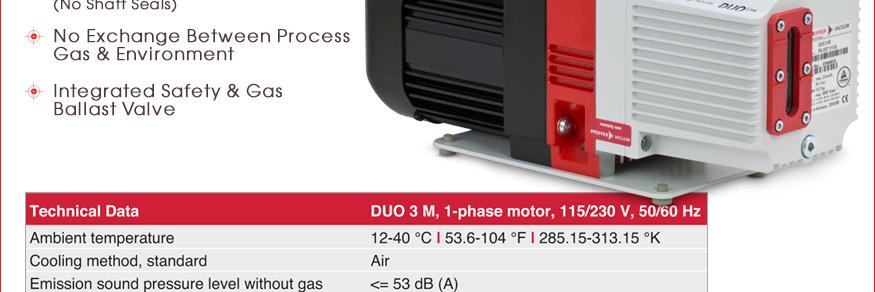Ideal Vacuum Pfeiffer Vacuum Duo 3 M Dual Stage Rotary