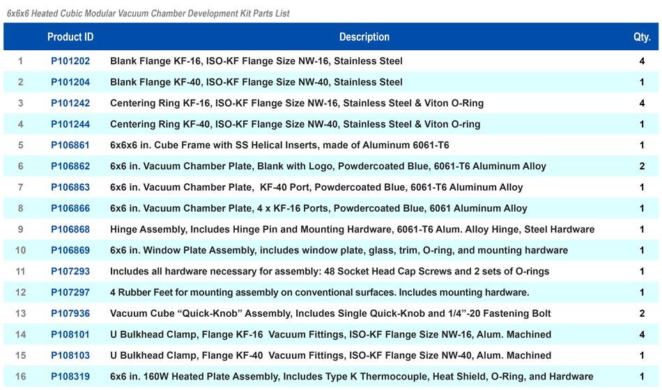 Heated Cube Modular Vacuum Chamber Kit Parts List